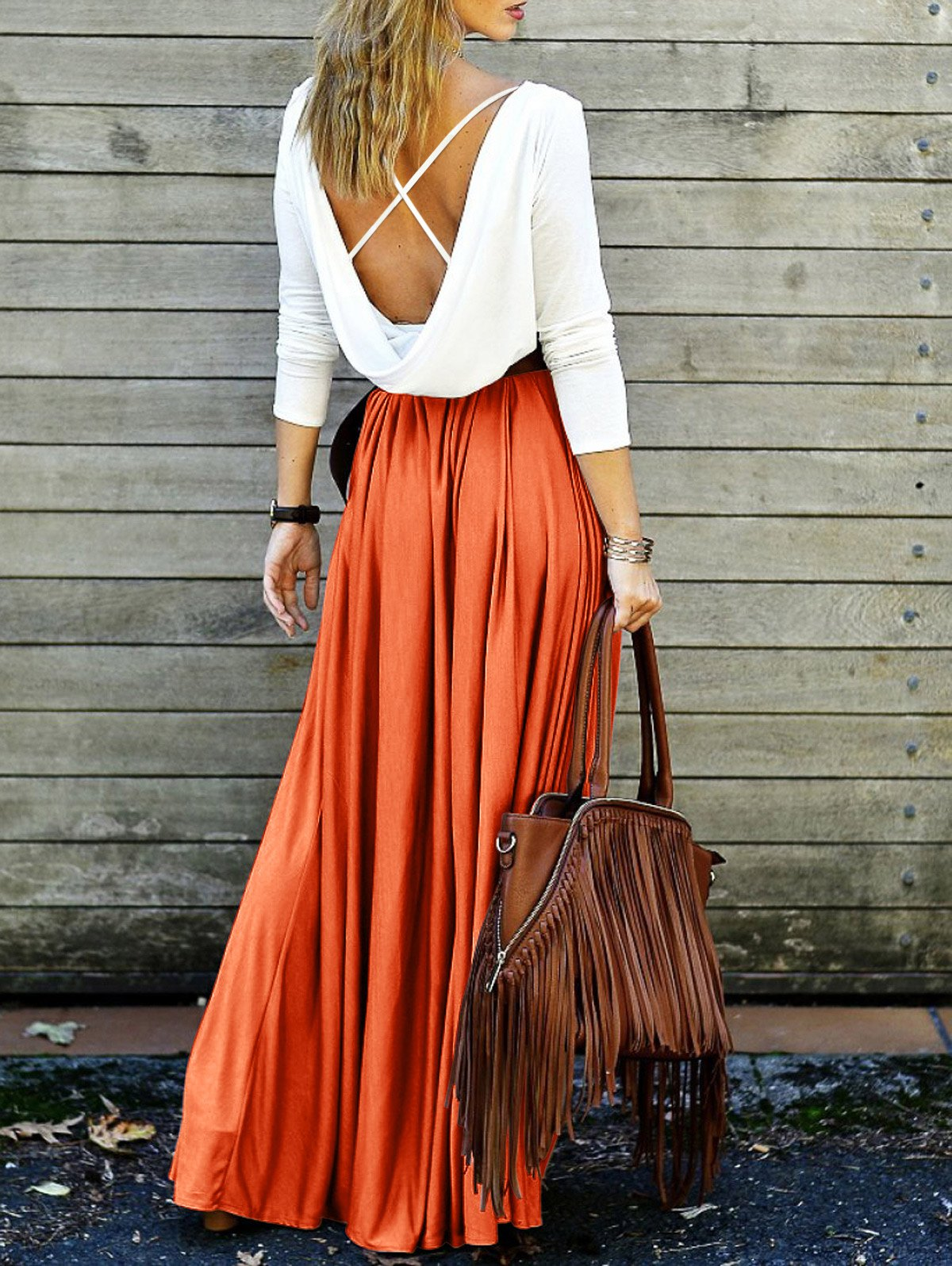 Back Criss-Cross Spliced Maxi Dress