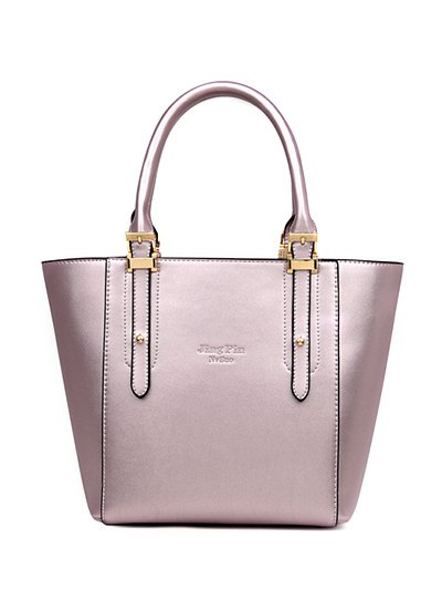 Buckles Metal PU Leather Tote BagAccessories<br><br><br>Color: LIGHT PURPLE