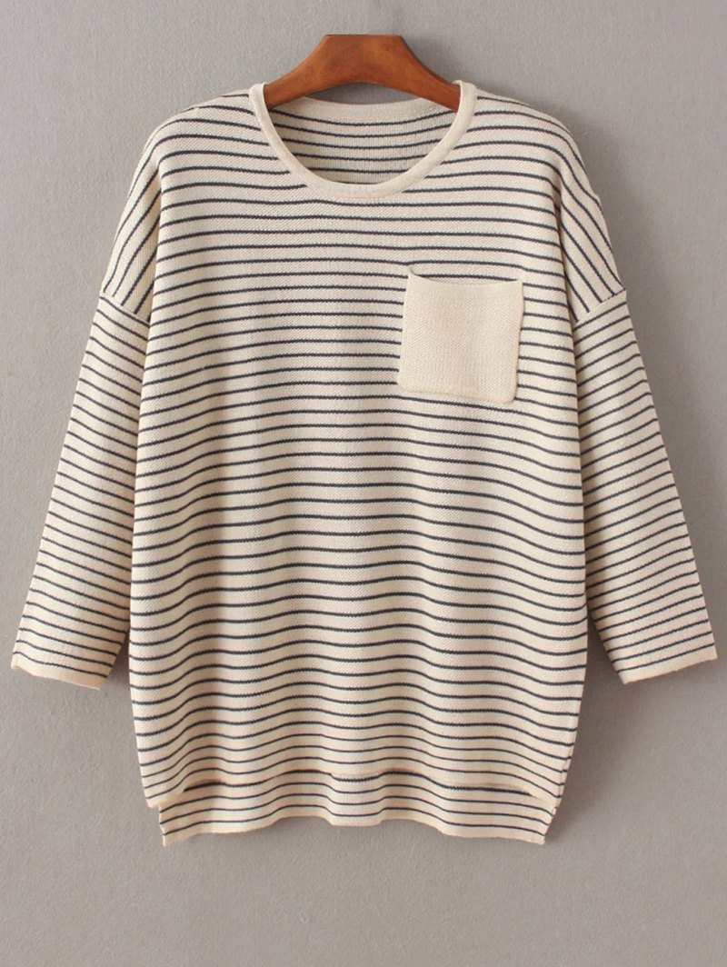 One Pocket Striped Batwing Sweater