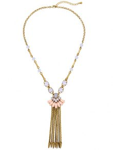 Buy Rhinestone Chain Fringe Necklace -