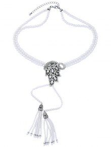 Buy Faux Pearl Tassel Necklace -