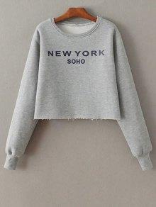 Letter Print Round Neck Sweatshirt - Gray