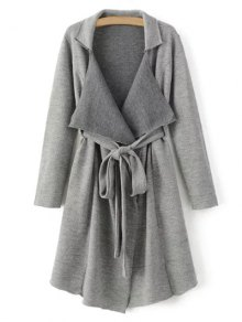 Lapel Belted Longline Cardigan - Gray M