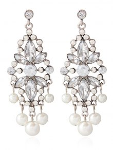 Faux Pearl Rhinestoned Wedding Jewelry Earrings - Silver