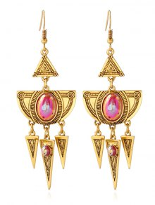 Faux Crystal Layered Alloy Geometric Earrings - Golden