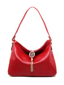 PU Leather Tassel Pendant Shoulder Bag - Red