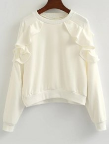 Buy Loose Flounce Ruffles Sweatshirt - WHITE ONE SIZE