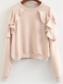 Buy Loose Flounce Ruffles Sweatshirt - PINK ONE SIZE