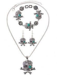Faux Turquoise Skull Heart Jewelry Set