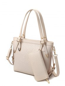 Flower Pattern Embossing Metal Shoulder Bag - Off-white