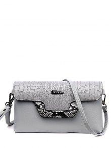 Crocodile Print Color Splicing Metal Crossbody Bag