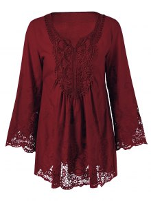 Lace Trim Tunic Blouse - Wine Red 5xl