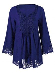 Buy Lace Trim Plus Size Tunic Blouse - DEEP BLUE 2XL