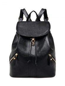 Zippers PU Leather Drawstring Backpack - Black