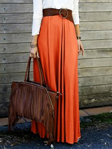 Solid Color High Waisted Long Skirt - Orange S