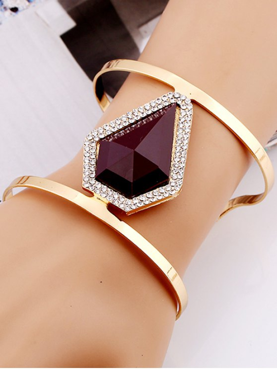 Rhinestone Alloy Layered Geometric Cuff Bracelet -   Mobile