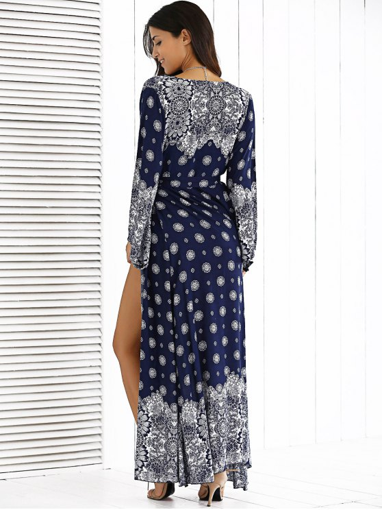 Bohemian High Furcal Maxi Dress - BLUE ONE SIZE Mobile