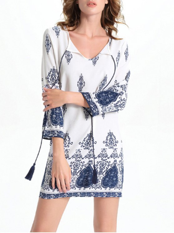 unique Long Sleeve Round Neck Printed Dress - WHITE L