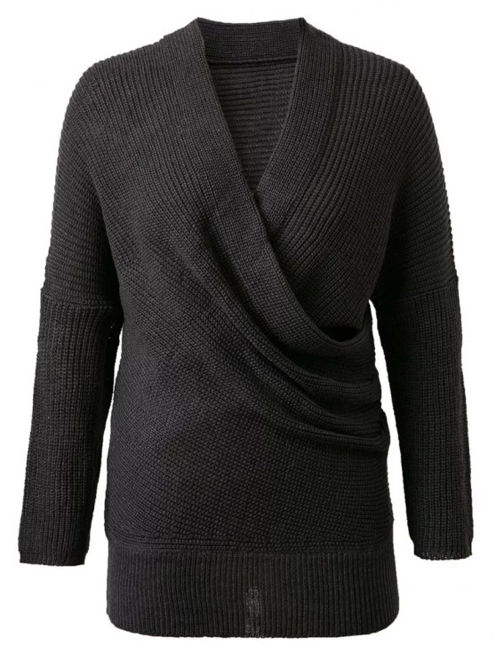 online Crossover Sweater - BLACK ONE SIZE