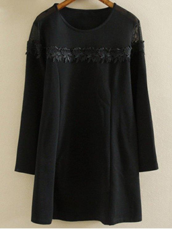 Más el tamaño de la túnica del vestido - Negro 2XL