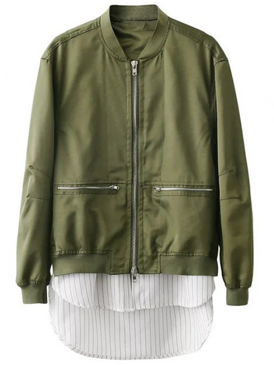Zipped Layered Hem Jacket - GREEN L Mobile