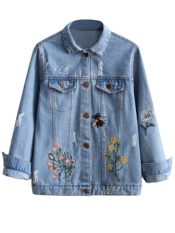 hot Embroidered Ripped Denim Jacket - LIGHT BLUE L