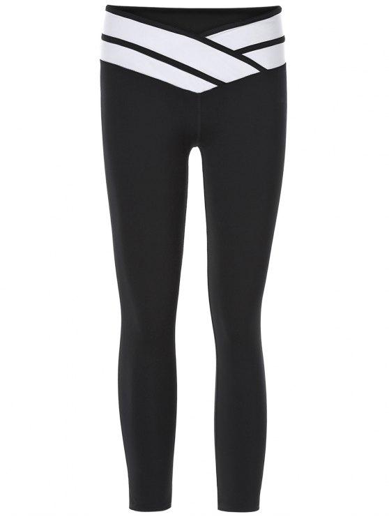 Pantalons Sporty Color Block Slimming Capri pour les femmes - Noir L