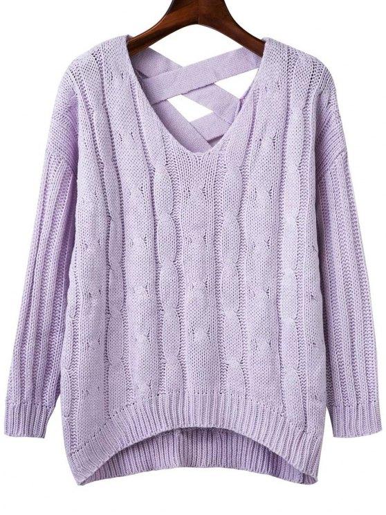 best Crisscross Back V Neck Sweater - LIGHT PURPLE ONE SIZE