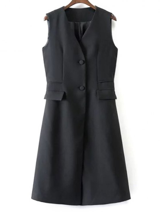 womens V Neck Two Buttons Long Waistcoat - BLACK M