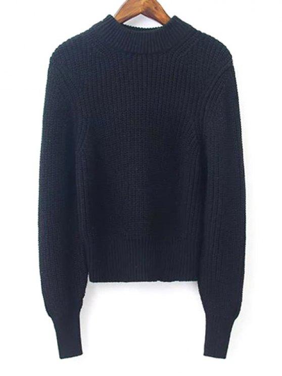 La linterna de la manga del suéter Medio Cuello recortada - Negro M