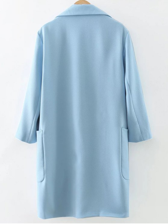 Pockets Lapel Collar Long Coat - LIGHT BLUE S Mobile