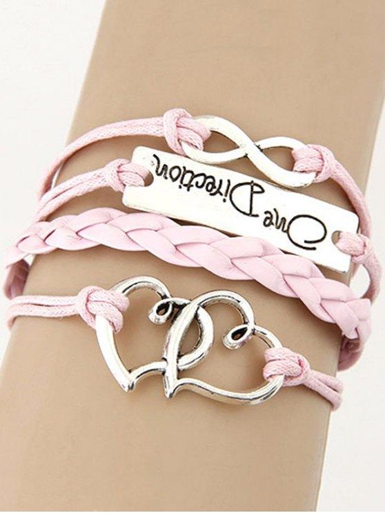 Interlink Hearts Braided Bracelet - PINK  Mobile