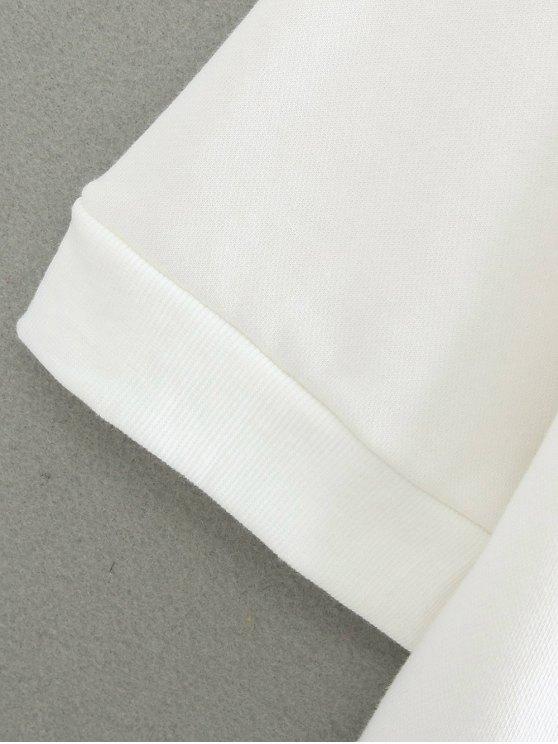 Round Neck Applique Cutout Sweatshirt - WHITE ONE SIZE Mobile