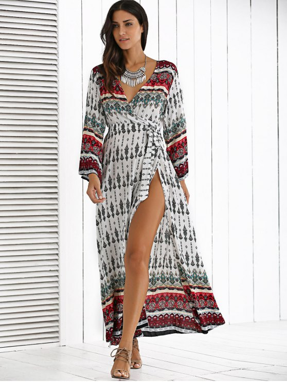 Long Sleeve Furcal Maxi Dress - WHITE ONE SIZE Mobile