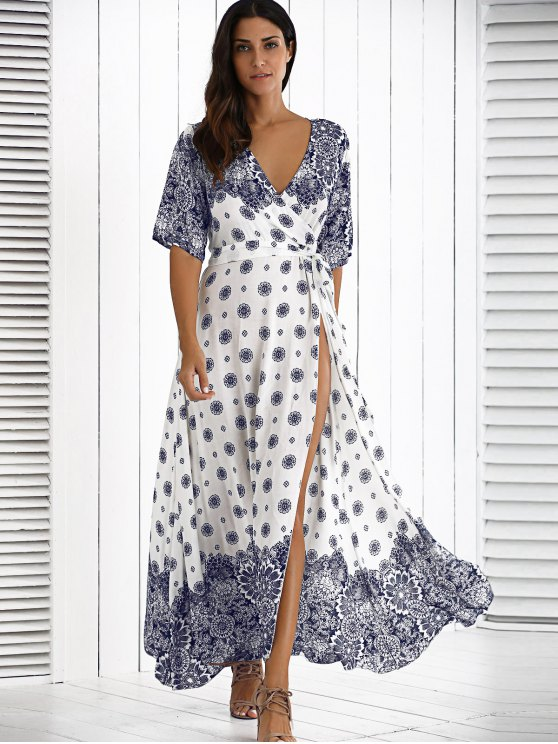 Maxi Crossover Dress With Belt - WHITE ONE SIZE Mobile