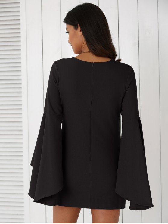 Solid Color Plunging Neck Flare Sleeve Sheath Sexy Mini Dress - BLACK 2XL Mobile