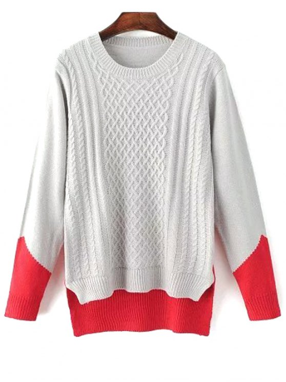 women's High Low Color Block Sweater - GRAY ONE SIZE