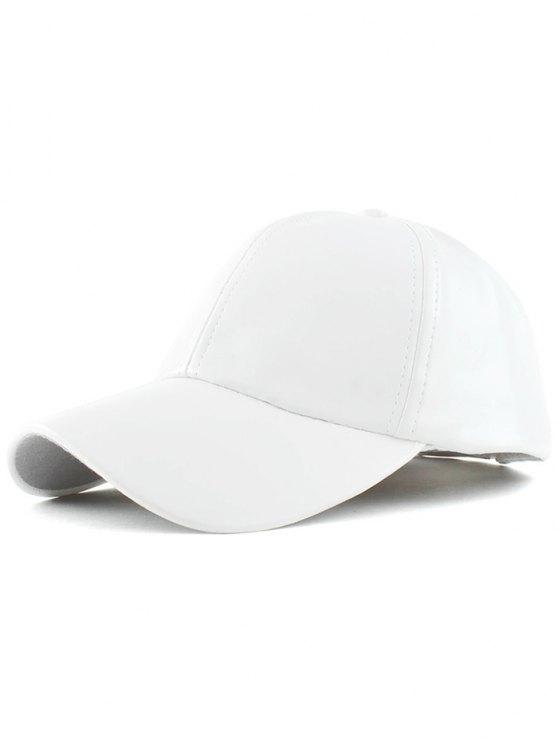 fancy Faux Leather Baseball Hat - WHITE