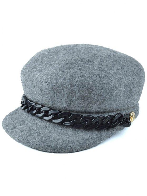 affordable Chunky Chain Felt Newsboy Hat - GRAY