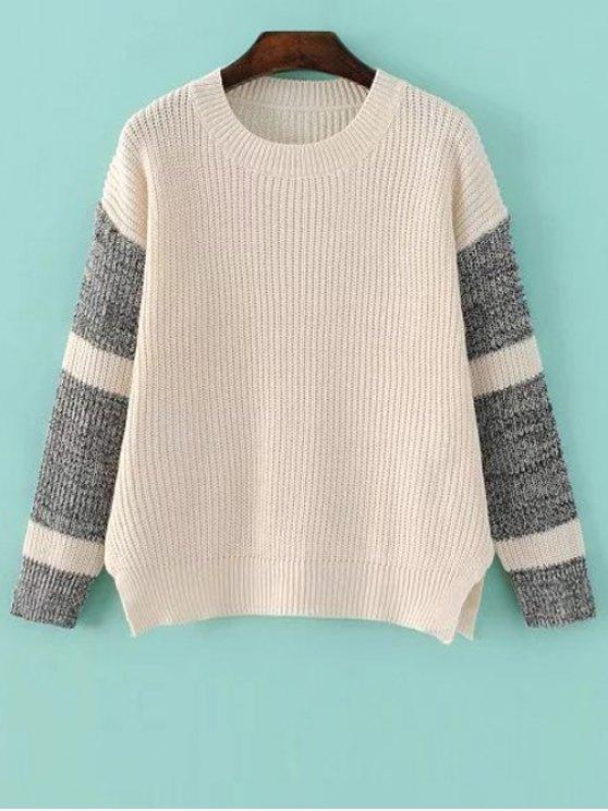 La raja del lado del bloque del color del suéter - Apricot Light Única Talla