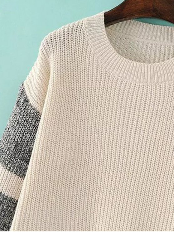 Side Slit Color Block Sweater - LIGHT APRICOT ONE SIZE Mobile