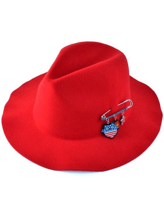 online Pendant Safty Pin Felt Jazz Hat - RED