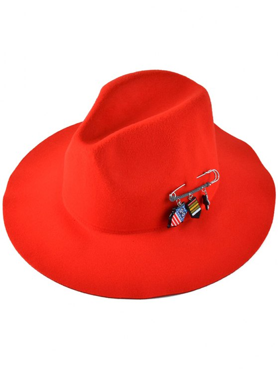 new Pendant Safty Pin Felt Jazz Hat - JACINTH