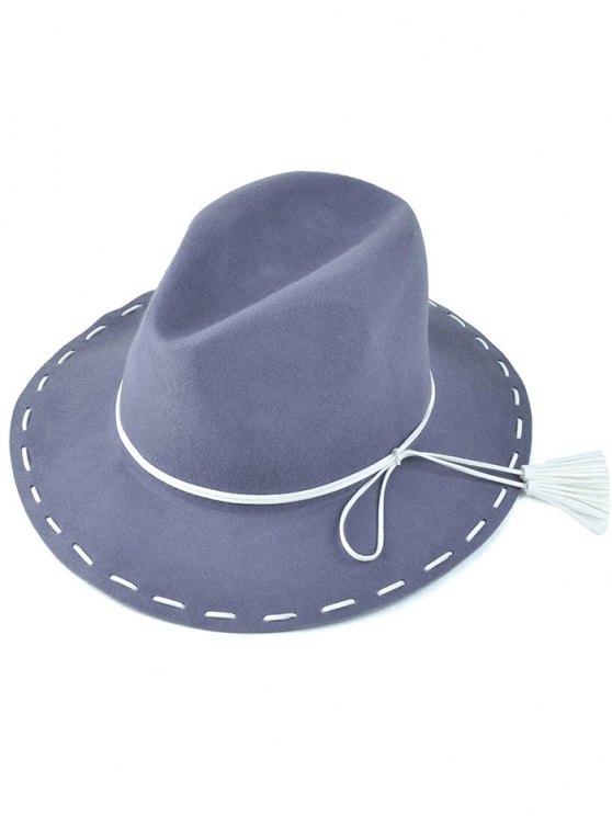 hot Tassel Lace-Up Felt Jazz Hat - GRAY