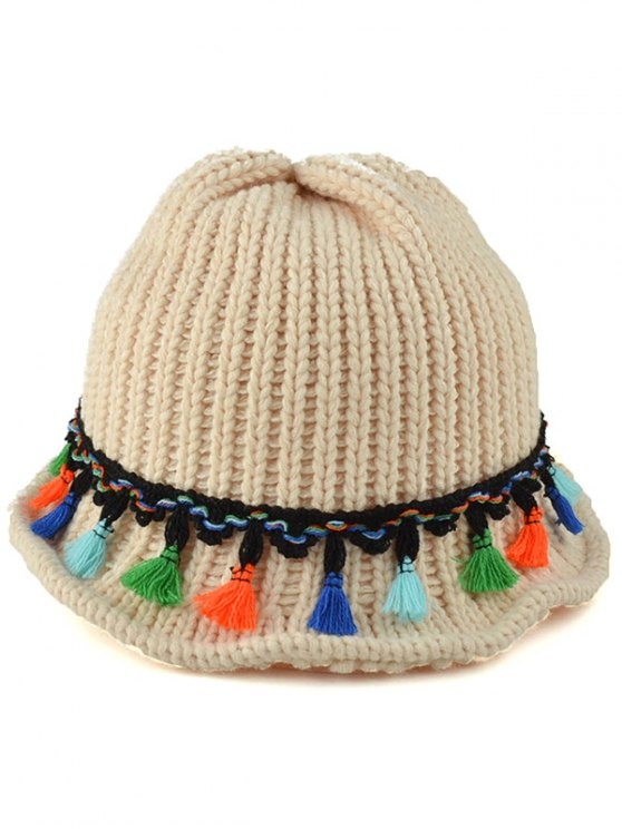 shops Tassel Pendant Lace-Up Knitted Beanie - OFF-WHITE