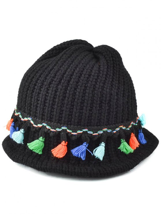 latest Tassel Pendant Lace-Up Knitted Beanie - BLACK