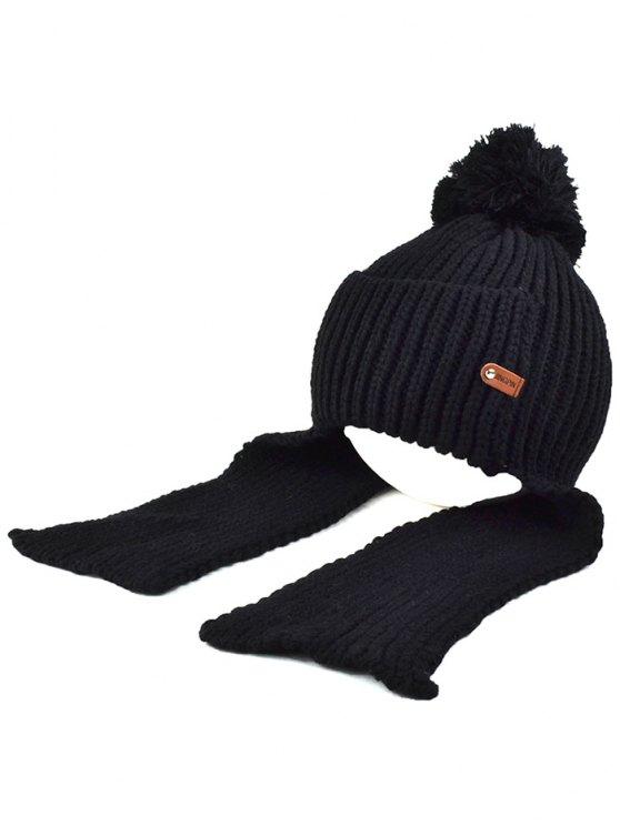 unique Fuzzy Ball Earmuff Knitted Beanie - BLACK