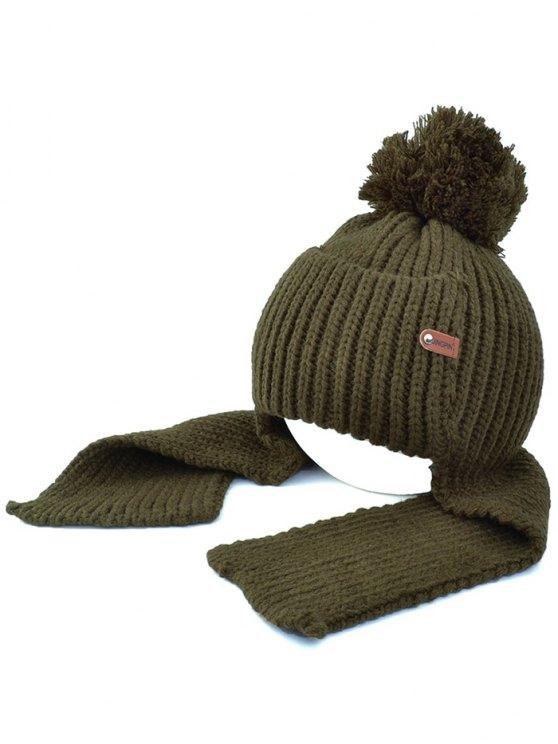 affordable Fuzzy Ball Earmuff Knitted Beanie - BLACKISH GREEN