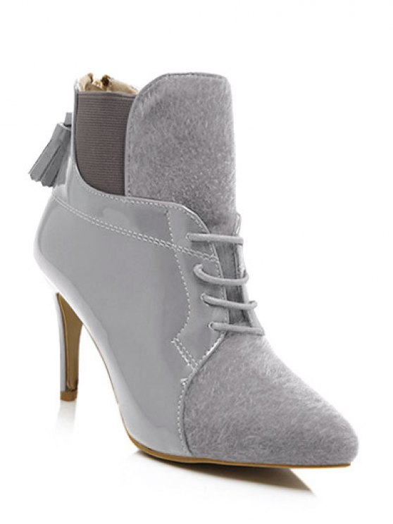 womens Tassels Splicing Elastic Band Ankle Boots - GRAY 38