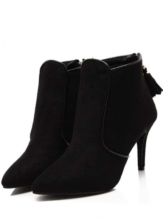 Flock Tassels Zipper Ankle Boots - BLACK 38 Mobile